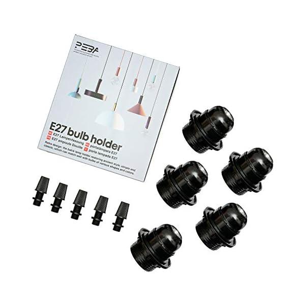 E27-Lampenfassung-PEBA-Lampenhalterl-aus-Bakelit-Deckenleuchte-schwarz-5er-Pack