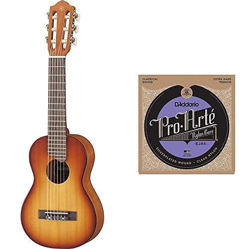 Yamaha Gl1 Guitalele - Mini Guitarra De Madera Con Las Dimensiones De Un Ukelele, Escala De 17 Pulgadas + D'Addario Ej44 - Juego De Cuerdas Para Guitarra Clásica De Nylon