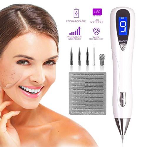 Stylo de retrait taupe/outil soins la peau du visage kit suppression d'étiquette avec 9-Gears écran d'affichage à cristaux liquides Eraser Pro pour tatouage Nevus Freckles Mark Birth USB rechargeable