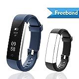Lintelek Fitness Tracker, Slim Activity Tracker Watch with Sleep Monitor, Step Counter, IP67 Waterproof, Smart Bracelet Pedometer Sports Smart Watch for Men, Women and Kids(Blue+Black)