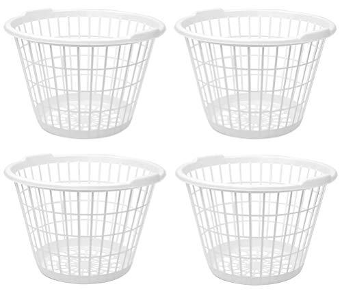 United Solution Set of 4 White Lightweight Plastic One Bushel Capacity Laundry Baskets