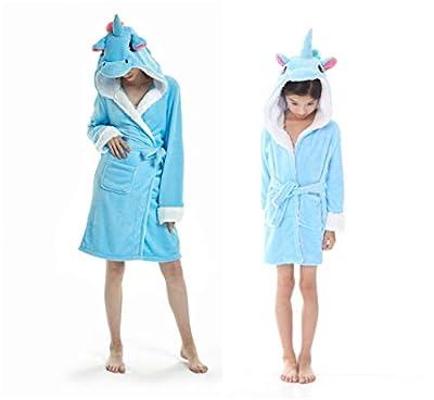 SeeShine Animal Hooded Robe Women Cartoon Robe Unicorn Flannel Bathrobe Home Bathing Suits for Adults