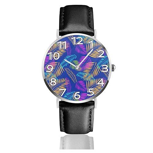 Reloj de Pulsera Hojas de Palmera Tropical Durable PU Correa de Cuero Relojes de Negocios de Cuarzo Reloj de Pulsera Informal Unisex