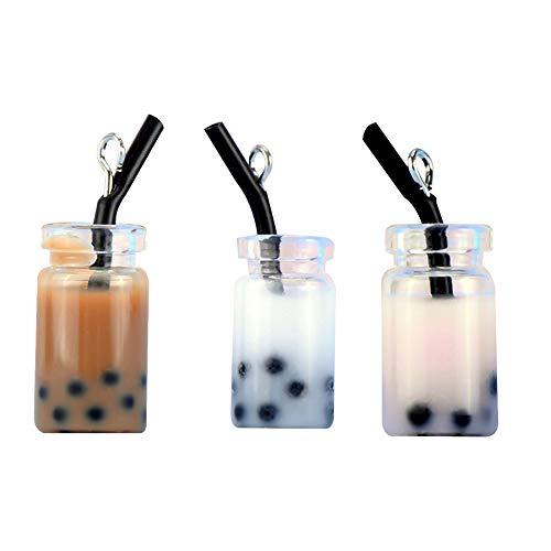 shengyuze Mini Keychain, 3Pcs/Set Resin Candy Color Milk Tea Model Art Crafts Hanging Keychain Decor - 3pcs A