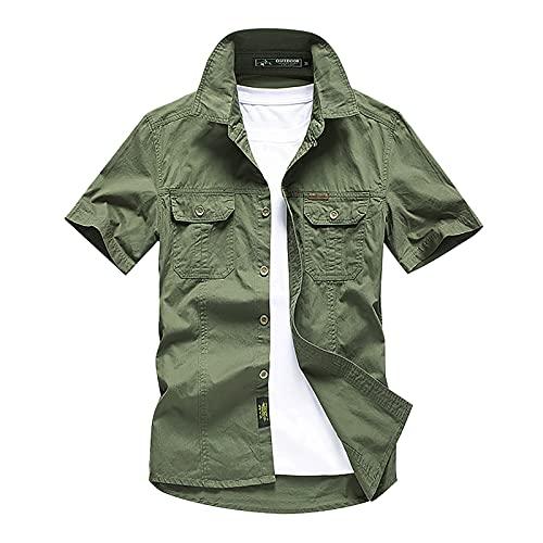 Hemd Vintage Sportshirt Kurzarm Herren Sommer-Freizeithemd Outdoor Schnelltrocknend Hemd Atmungsaktiv Sonnenschutz Shirts Wandern Angeln Shirts UPF 50+ Funktionsshirt mit Multi Taschen Buttons Tops