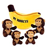 My Monkeys Plush Toy Set | Includes 4 Talking Soft Fluffy Plush Monkeys with A Plush Banana Shaped Carrier | Great Gift for Baby and Toddler Boys or Girls