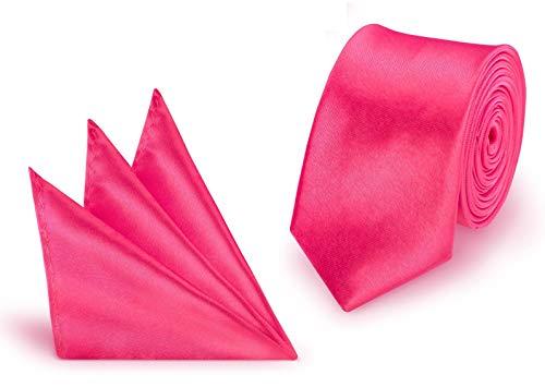 StickandShine Krawatte + Einstecktuch Pink slim aus Polyester einfarbig uni schmale 5 cm