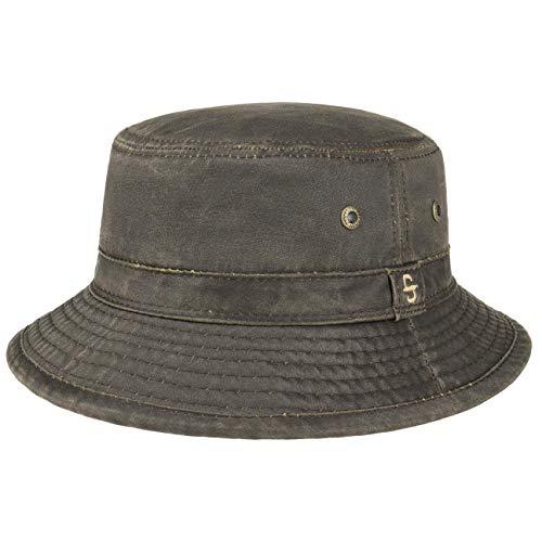 Stetson Drasco Stoffhut Herren - Packable - Washable - Freizeithut mit hohem UV-Schutz - Faltbarer Bucket Hat mit Baumwolle - Waschbarer Outdoorhut - Sommer/Winter braun L (58-59 cm)