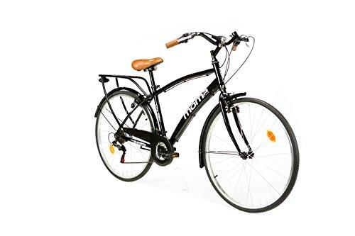 "Moma Bikes City Bike - Bicicleta Paseo, Unisex, Adulto, Aluminio, 18 Velocidades, Ruedas de 28"", Negro"