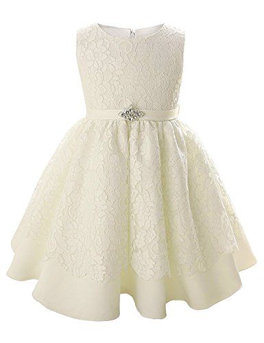 Christening Gowns Swibe Toddler Baby Girl dresses Lace Wedding Baptism Princess Dress (0-6Months, White)