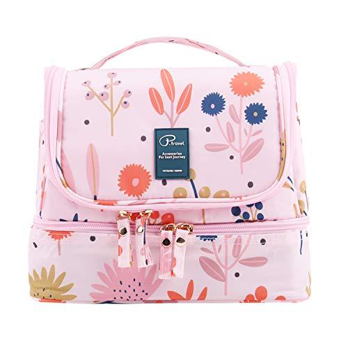 Tuscall Kulturbeutel Reise Kulturtasche zum Aufhängen für Damen & Herren, Waschbeutel Kosmetiktasche für Koffer & Handgepäck - Blume