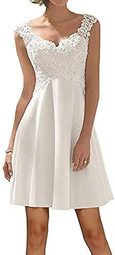 CGown Damen A Linie V Ausschnitt Spitze Pailletten Brautkleider für Braut mit Ärmellos Satin Kurz Länge Brautkleid Ballkleid Gr. 40, elfenbeinfarben