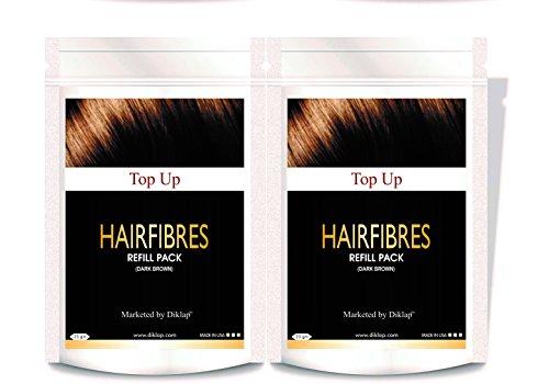 Top Up Hair Building Fiber Refill Pack 2 * 25Gm (Hair Concealer) Dark Brown Pack of 2,Use For Caboki, Toppik, Looks 21,Rebuild Hair Fiber etc.