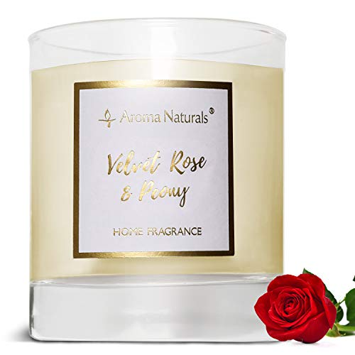 Aroma Naturals Scented Candle, 35 Hours Burning Time, Jar Candle with Natural Soy Wax, Gift Packing (Velvet Rose & Peony)