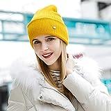 Mdder Frauen Hut Baumwolle 2019 Wintermütze hochwertige Strickmütze - Gelb