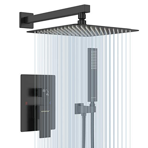 EMABATHER Black Shower System 12 Inch Mount Shower Faucet Set with Square Rain Shower Head and Handheld,Matte Black Combo Set for Bathroom(Rough-in Valve Body and Trim included)