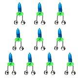 MagiDeal 10 Stück Angeln LED Aalglocken-Set Aal-Glöckchen doppelt Bissanzeiger zum Angeln - Blau