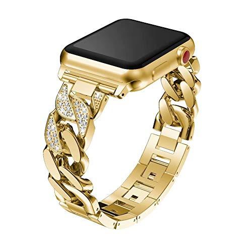 HZNZZZ Schmuck-Bügel Verwendbar Für Apple-Uhr 38Mm 40Mm 42Mm 44Mm, Vorzügliche Denim-Kette Edelstahl Mit Strass Armband Ersatzband, Geeignet Für Iwatch 5 4 3 2 1,Gold,38/40MM