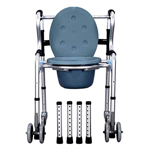 TWL LTD-Wheelchairs Aluminium Transit Wheeled Mobiler Toilettenstuhl Rollstuhl mit Rollen Transport Badezimmer Toilettensitz Behinderung Mobilitätshilfe, Abnehmbarer Topf