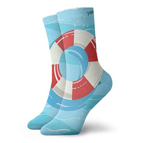 Tommy Warren Calcetines De Running Cómoda Calcetines Cortos,Boya de anillo salvavidas clásica con azul,Calcetines De Deporte Cómodos
