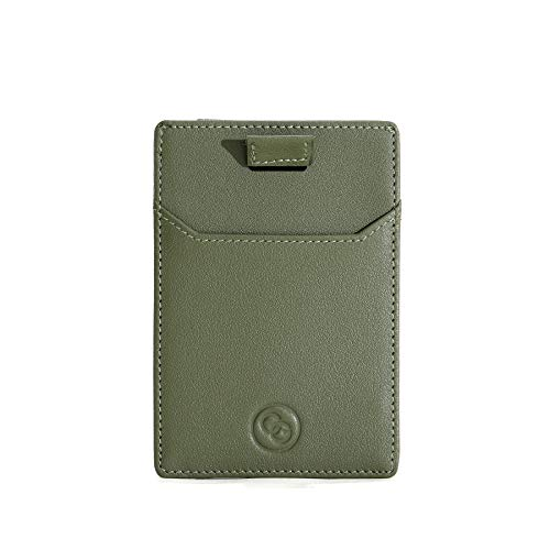 Cg Men S Card Holder Wallet Olive Green Rfid Slim Card Wallet With Free Luxury Gift Box Green Leather Card Holder To Keep Your Cards Secure Luxe