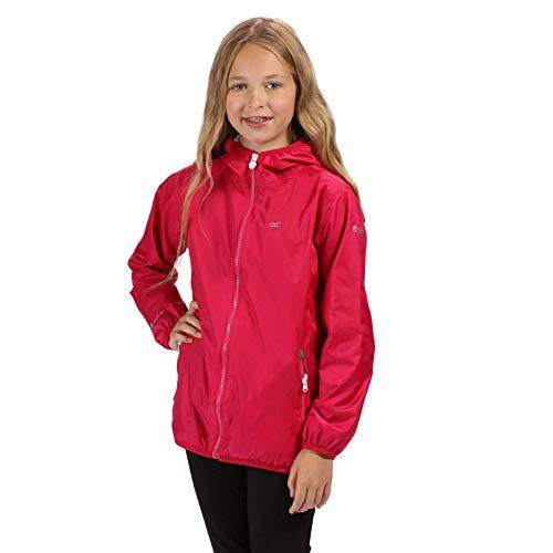 Regvv|#Regatta Kids Lever II Waterproof and Breathable Mesh Lined Hooded Pack Away Jacket - Cabaret, 11-12