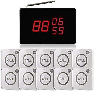 飲食店向け ワイヤレスチャイム スタッフ呼び出しベル 送信ボタン10個付き 3番号同時表示 表示削除機能付き送信機 (Aタイプ(ホワイト)) コールシステム 【1年保証】