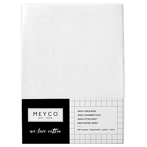 Meyco Jersey Spannbetttücher Spannbettlaken 70x140 / 150 cm (1er Pack, weiß)