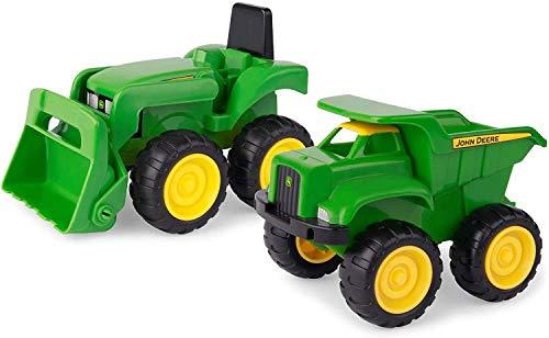 """TOMY Sandkasten Spielzeugset """"John Deere Mini Bagger und Kipplader"""" in grün - robuster Spielzeug Bagger und Kipplaster aus Kunststoff für draußen - ab 18 Monate"""