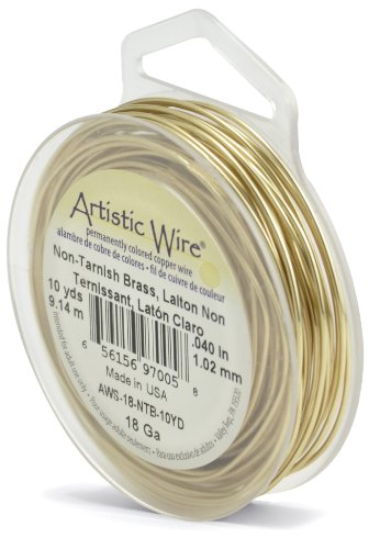Artistic Wire 18 Gauge / 1.0 mm Tarnish Resistant Brass Craft Wire, 10 yd / 9.1 m, Gold Color