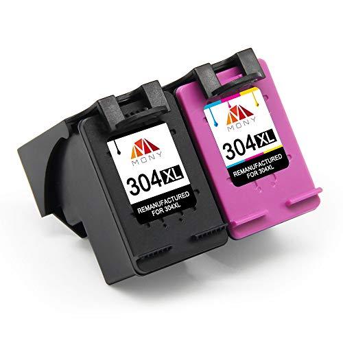 Mony Remanufacturado Cartuchos de Tinta Reemplazo para HP 304 XL 304XL (1 Negro, 1 Tricolor) Compatible con HP Deskjet 3720 3730 3733 2620 2630 3750 3700 Serie Envy 5030 5020 5010 Impresoras