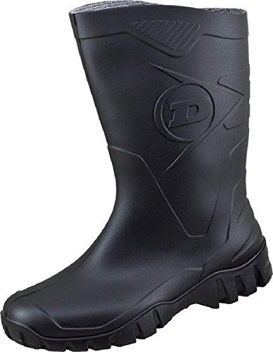 Dunlop Protective Footwear Unisex-Erwachsene Dee Gummistiefel inkluisve Hochwertigen Schmutzbeutel aus 100% Baumwolle (47, Schwarz)