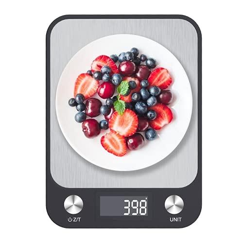 Küchenwaage Digital, Yomisee Digitale Küchenwaage 10kg/1g Digitalwaage Hohe Präzision Haushaltswaage mit LCD-Display, Edelstahl Wiegefläche Tara-Funktion