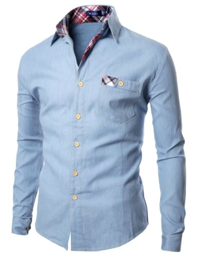 Doublju Mens Shirts with Patched Pocket SKY (US-S)
