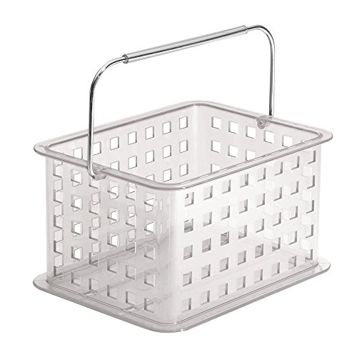 InterDesign Zia panier de rangement, petit panier salle de bain en plastique, corbeille de rangement pour accessoires de douche et soins, transparent