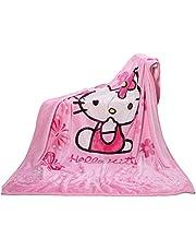 GD-SJK Filt i fleece tecknad Hello Kitty tryck, 100 x 140 cm, barn super plysch mjuk varm för tupplur, soffstol, vardagsrum (hello Kitty)