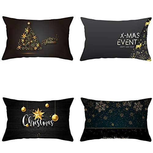 NLNL 4-Piece Set 30 * 50 Christmas Pillowcase Black Gold Series Linen Cushion Cover Office Sofa Cushion Pillowcase-Style:6
