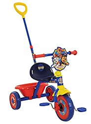 Adjustable and removable parent handle for push-along riding Easy switch front wheel clutch mechanism allows kids to rest their feet on the pedals in parent push-along mode Smooth ride EVA tyres Robust tubular steel frame Wide wheels for extra stabil...
