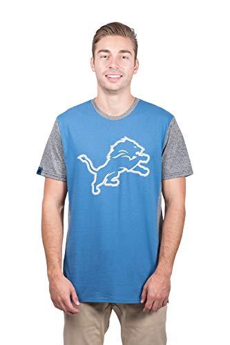 Ultra Game Men's NFL T-Shirt Raglan Block Short Sleeve Tee Shirt, Detroit Lions, Team Color, Medium