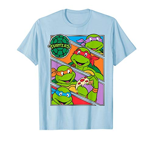 Teenage Mutant Ninja Turtles Four Panels Baby Blue T-shirt, Adult and Youth Sizes