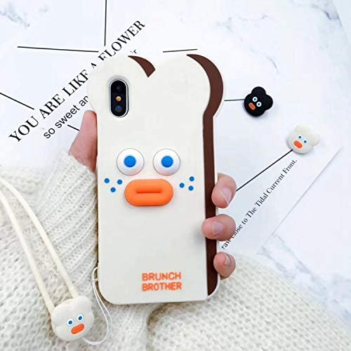 Ultra Thick Soft Silicone White Bread Case with Neck Strap for iPhone Xs Max 6.5 2018 Cute Lovely Protective Shockproof Fun Funny Creative Unique Kids Teens Girls Boys Son Daughter