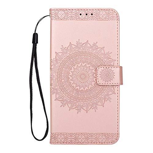 Coque Galaxy S9, SONWO Gaufrage Mandala Motif Housse Cuir PU Flip Portefeuille Etui avec Portable Dragonne et Carte de Crédit Slot pour Samsung Galaxy S9, Rose