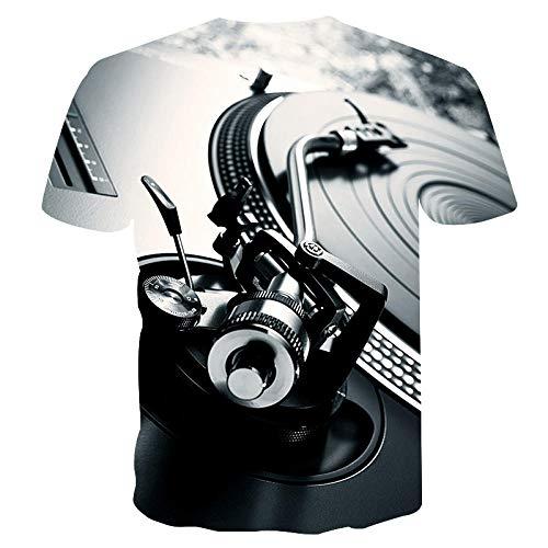 HGFHKL Plato de DJ Retro Impresión 3D Camiseta de Manga Corta para Hombre Camiseta Casual de Verano con Cuello Redondo Patrón Divertido
