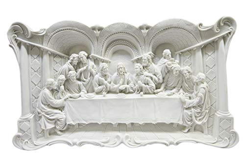 Large White Wall Plate Plaque of The Last Supper Jesus Christ Statue 3D by Vittoria Collection Made in Italy