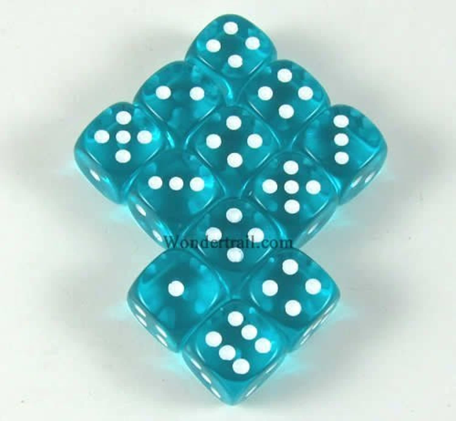 Teal Translucent with White Pips 12mm D6 Dice Set of 12 Wondertrail WCX23815E12 by Wondertrail