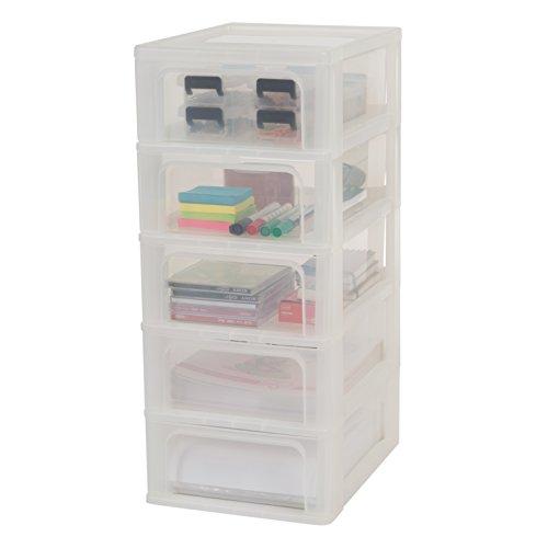 Iris Ohyama, Schubladenschrank / Schubladencontainer - Organizer Chest OCH-2005 - plastik, frostweiß, 5 x 7 L, L26 x B35,5 x H61 cm