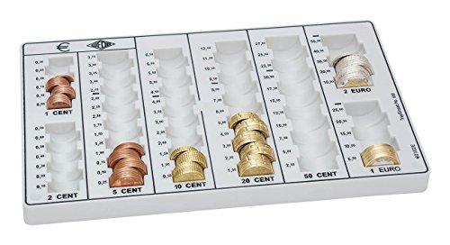 Wedo 160658037 Geld Zählbrett (aus Polystyrol, rutschfeste Gummifüße, wischfeste Wertskalen, 26,2 x 16,0 x 3,0 cm) lichtgrau