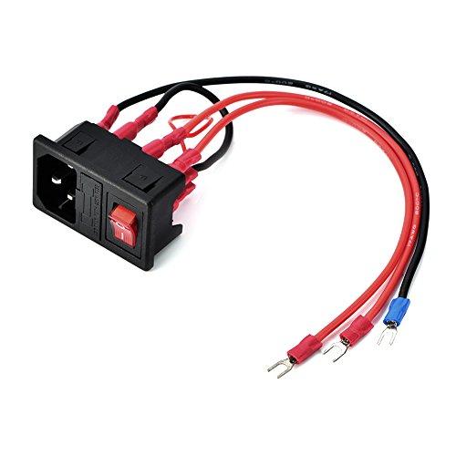 ASHATA Interruttore di Alimentazione Stampante 3D, Spina Tipo U 15A Interruttore di Alimentazione 220V / 110V Modulo Adattatore/Presa con Fusibile per Stampante 3D