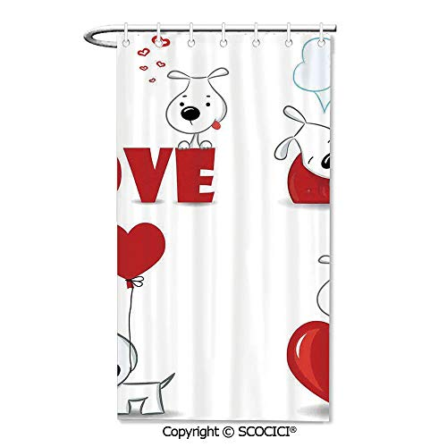 "SCOCICI 36""x72"" Shower Curtain - Spa,Hotel Luxury,Water Repellent,Decorative Bathroom Curtains,Set of Funny Dogs with Heart Symbols Love My Pet Best Companions Ever Animal Theme"
