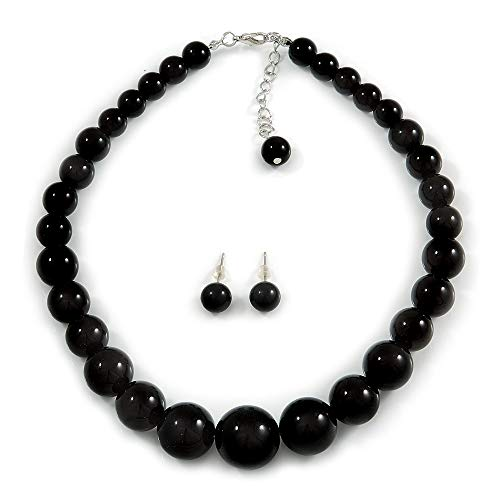Avalaya Jet Black Acrylic Bead Choker Necklace and Stud Earring Set in Silver Tone - 34cm L/ 7cm Ext
